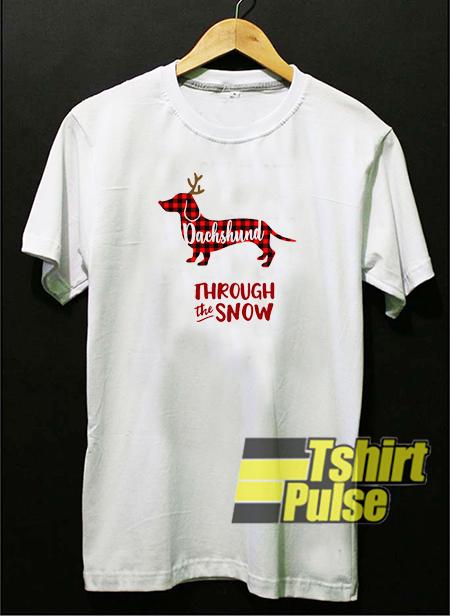 Dachshund through the snow t-shirt for men and women tshirt