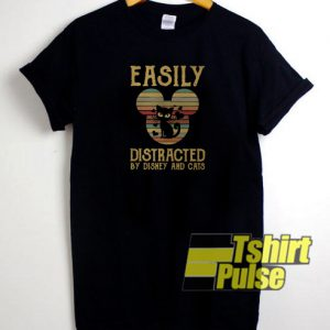 Easily distracted by Disney and cats t-shirt for men and women tshirt