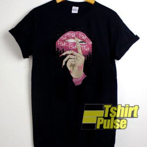 Pink Ribbon Lips t-shirt for men and women tshirt