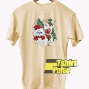 Santa Riding Cat t-shirt for men and women tshirt