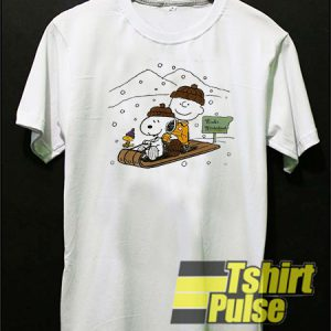 Snoopy and Charlie snowboarding winter t-shirt for men and women tshirt