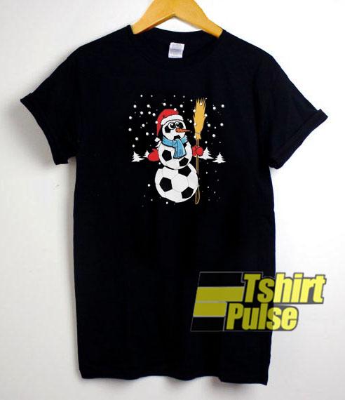 Soccer Snowman t-shirt for men and women tshirt
