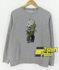 Baby Groot hug weed sweatshirt