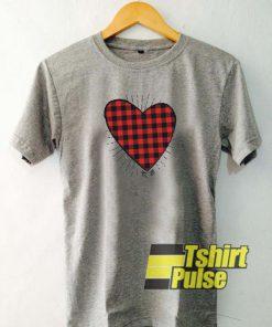 Buffalo Plaid Heart t-shirt for men and women tshirt