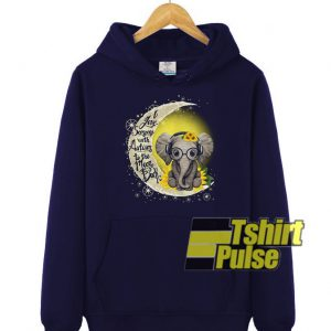 Elephant and the moon hooded sweatshirt clothing unisex hoodie