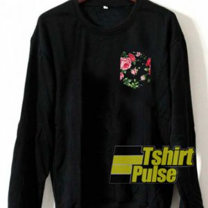 Large Rose Stitched Pocket Print sweatshirt