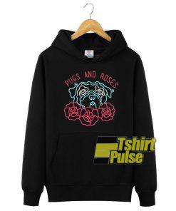 Pugs And Roses hooded sweatshirt clothing unisex