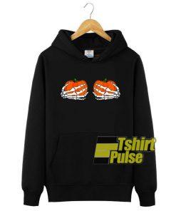 Pumpkin Boobies Skeleton Hands hooded sweatshirt clothing unisex