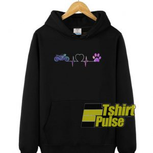 Heartbeat Motorcycle and Dog paw hooded sweatshirt clothing unisex hoodie