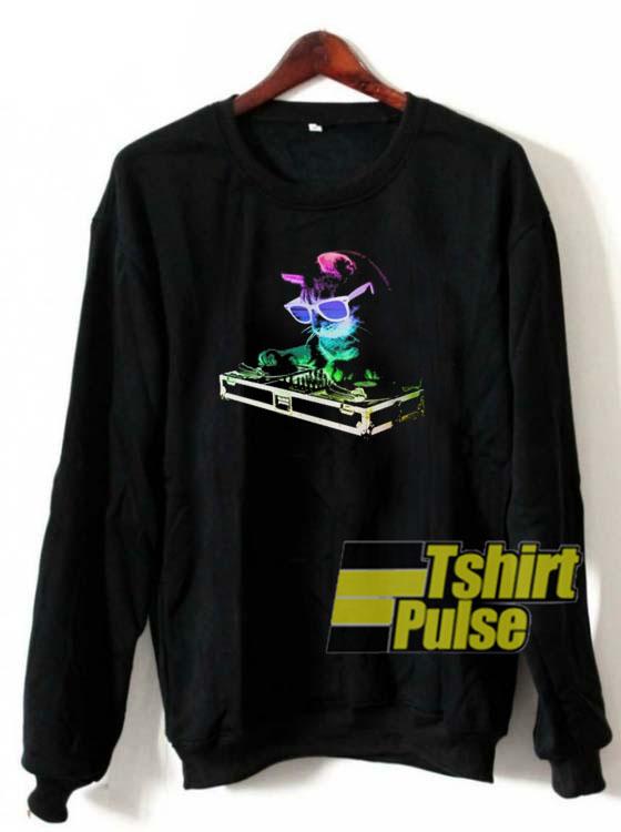 Rainbow DJ Kitty sweatshirt