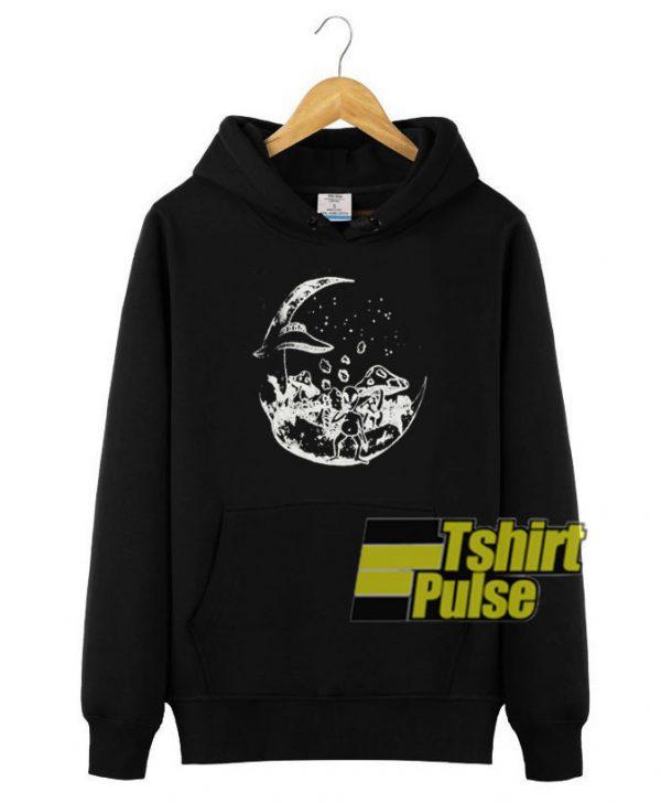 Alien on the Moon hooded sweatshirt clothing unisex hoodie