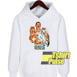 Freddie Mercury hug his cats hooded sweatshirt clothing unisex hoodie