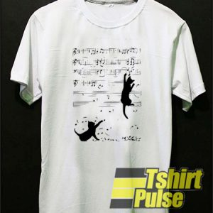 Two Cats Play Music Notes t-shirt for men and women tshirt