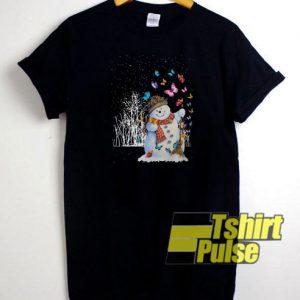 snowman and butterflies t-shirt for men and women tshirt