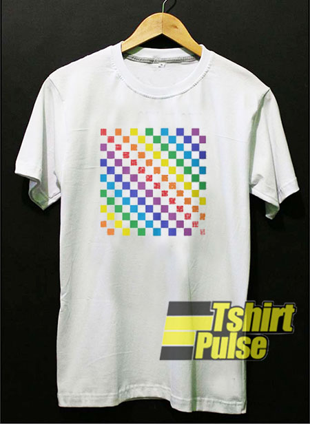 Checkered Rainbow t shirt for men and women tshirt
