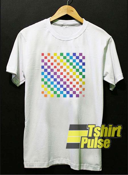 Checkered Rainbow t-shirt for men and women tshirt