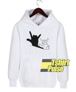 Rabbit Love Hand Shadow hooded sweatshirt clothing unisex