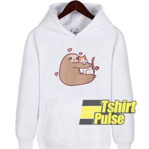 Sloth Loves Cat hooded sweatshirt clothing unisex hoodie