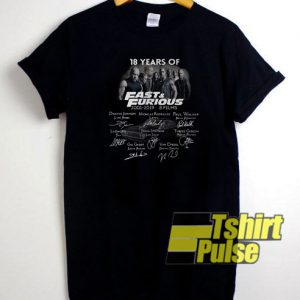 18 Years of Fast And Furious t-shirt for men and women tshirt
