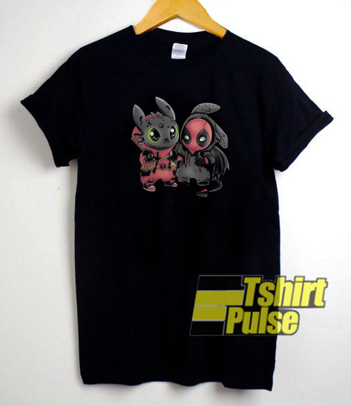 Baby Deadpool and Toothless t-shirt for men and women tshirt