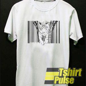 Endangered Tiger Barcode t-shirt for men and women tshirt