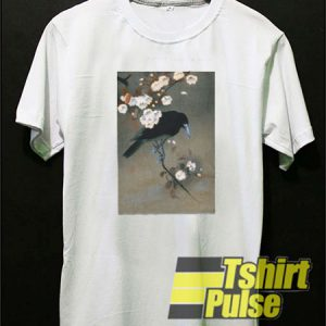Japanese Crow and Blossom t-shirt for men and women tshirt