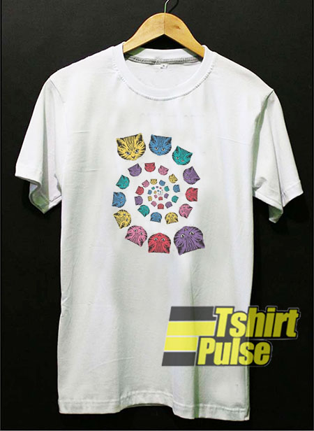 Spiral Cat Rainbow t-shirt for men and women tshirt
