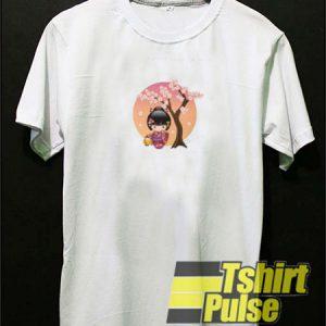 Japanese Sakura Kokeshi Doll t-shirt for men and women tshirt