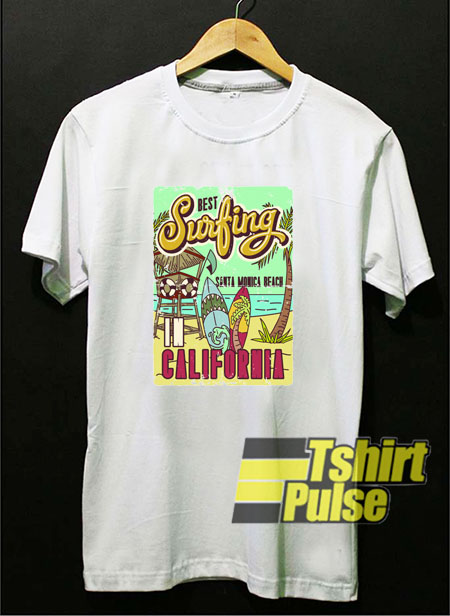The Best Surfing Santa Monica California t-shirt for men and women tshirt