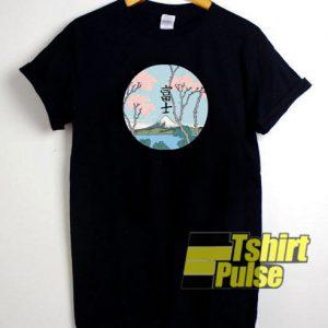 Japan Fuji Mountain Flowers Sakura t-shirt for men and women tshirt