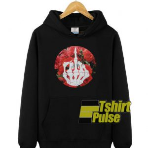 Skeleton Middle Finger Retro Roses hooded sweatshirt clothing unisex hoodie
