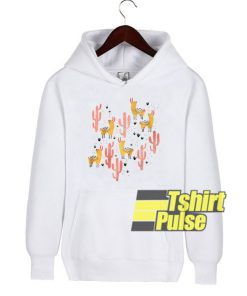 Yellow Llamas Red Cacti hooded sweatshirt clothing unisex hoodie