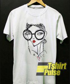 Girl Cartoon Art Line t-shirt for men and women tshirt