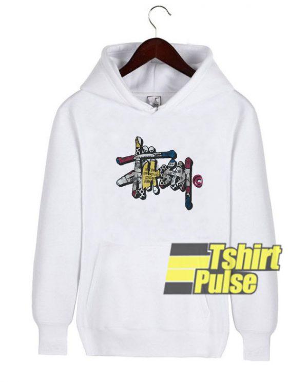 Stussy Graffiti Logo hooded sweatshirt clothing unisex hoodie