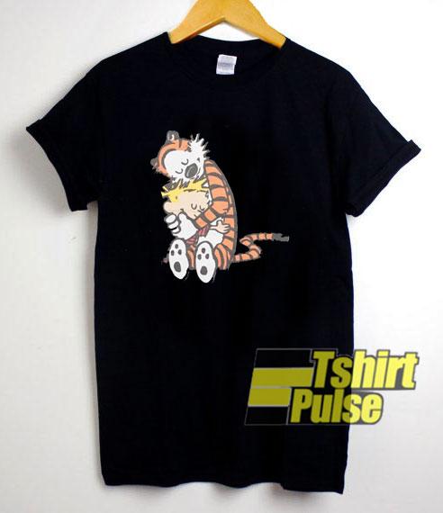 Calvin And Hobbes Hugging t shirt for men and women tshirt