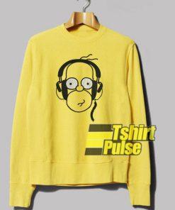 Homer Wearing Earphone sweatshirt