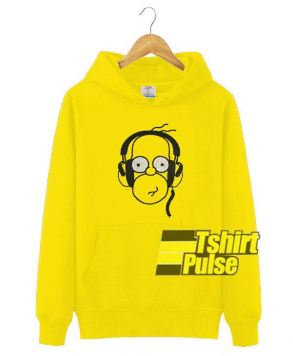 Homer Wearing Earphone hooded sweatshirt clothing unisex hoodie