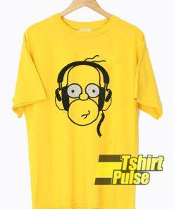 Homer Wearing Earphone t-shirt for men and women tshirt
