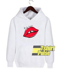 Red Lip Letters Print hooded sweatshirt clothing unisex hoodie