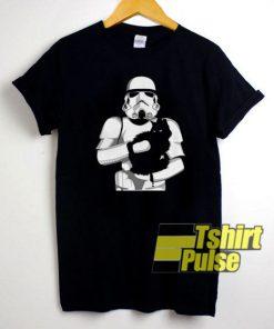 Stormtrooper Hug Black Cat t-shirt for men and women tshirt