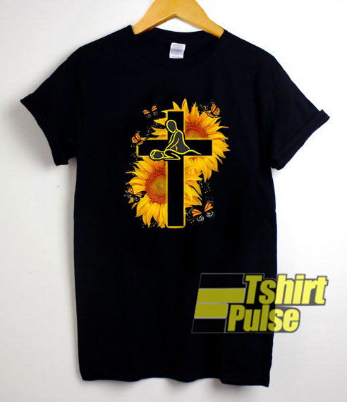 Butterfly Therapist Christ Sunflower t-shirt for men and women tshirt