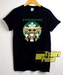 Baby Yoda Drinking Starbucks t-shirt for men and women tshirt