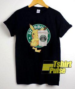 Pikachu Hugging A Starbucks Cup t-shirt for men and women tshirt