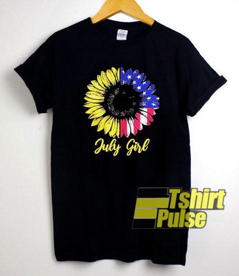 July Girl Sunflower Aemrican Flag t-shirt for men and women tshirt