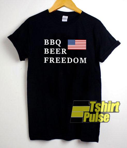 BBQ Beer Freedom Usa Flag shirt