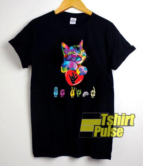 Cat Colorful Hug Be Kind shirt