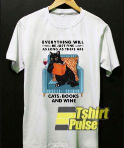 Cats Books And Wine shirt