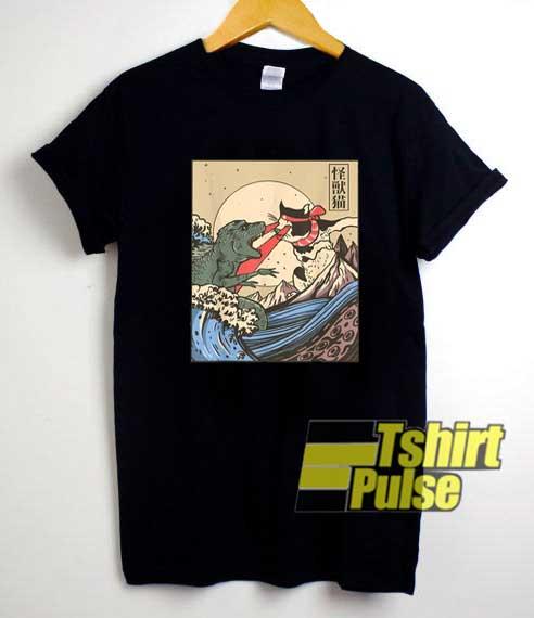 Wave Cat VS Monster Poster shirt