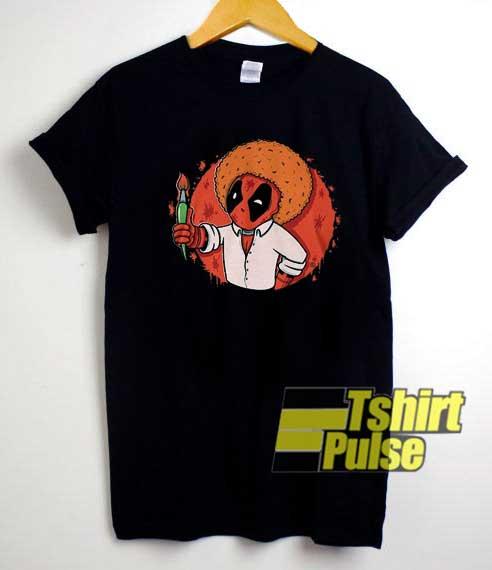 Deadpool Bob Ross Paintbrush shirt